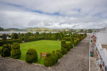 topiary: TULCAN, ECUADOR - JULY 3, 2016: parque de los recuerdos is the name of the topiary garden in the cemetery. Editorial