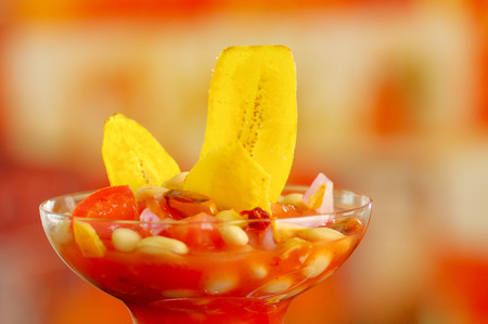 Traditional ecuadorian cold tomato based dish with chochos, onions and banana chips, elegant restaurant presentation.