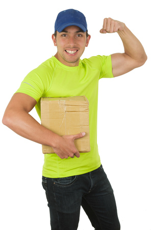 showing muscles: handsome friendly latin courier man carrying small box showing muscles isolated on white Stock Photo