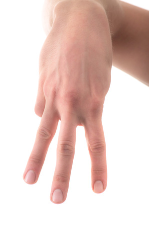 Letter M in sign language, hand on a white background