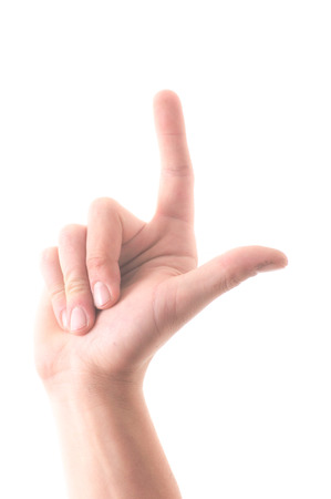 Letter L in sign language, hand on a white background