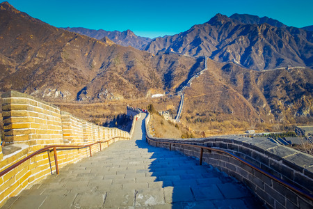 Fantastic view of impressive great wall on a beautiful sunny day, located at Juyong tourist site