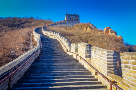 Extremely steep concrete steps leading up the great wall, beautiful sunny day, located at Juyong tourist site.