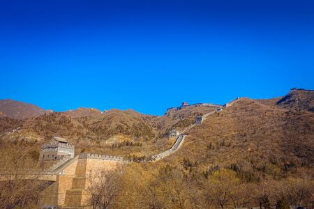 Fantastic view of impressive great wall on a beautiful sunny day, located at Juyong tourist site.