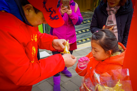 BEIJING, CHINA - 29 JANUARY, 2017: People attending the new years fair in Longtan Park, traditional chinese market
