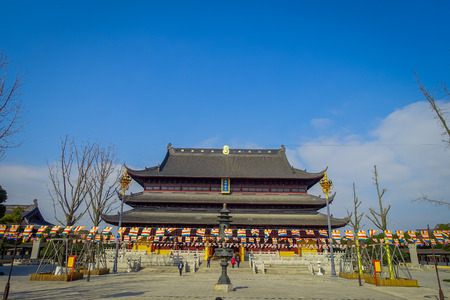 CHONGYUANG TEMPLE, CHINA - 29 JANUARY, 2017: Walking around Chongyuang temple complex, ensemble of temples, lakes and gardens, beautiful buildings and architecture