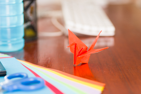 Closeup shot of colorful papers to make origami art