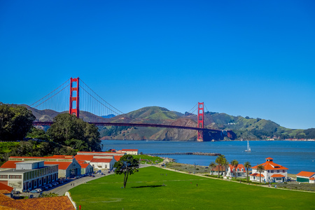 Beautiful touristic view of Golden Gate Bridge, iconic construction landmark in San Francisco city