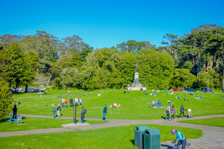 San Francisco, California - February 11, 2017: Beautiful Golden Gate Park in San Francisco, the fifth most visited city park in the United States.