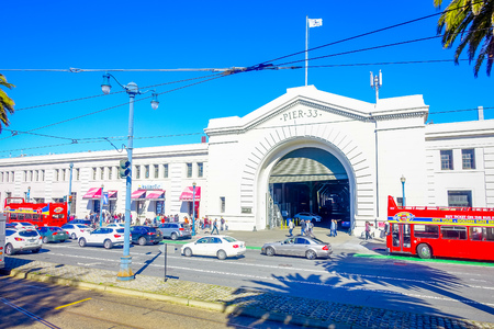 San Francisco, California - February 11, 2017: Beautiful touristic view of Pier 33 in the popular and cultural downtown area. Editorial