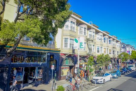 San Francisco, California - February 11, 2017: Beautiful shot of Haight Ashbury neighborhood, known for being the origin of hippie counterculture. Editorial