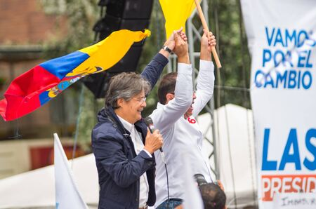 Quito, Ecuador - March 26, 2017: Guillermo Lasso, presidential candidate of CREO SUMA alliance in his election campaign for the second round that will be held on 2 April