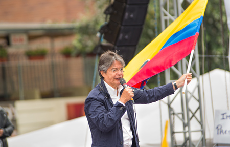 Quito, Ecuador - March 26, 2017: Guillermo Lasso, presidential candidate of CREO SUMA alliance in his election campaignfor the second round that will be held on 2 April
