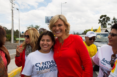 Quito, Ecuador - February 5, 2017: Cynthia Viteri, presidential candidate for the Partido Social Cristiano party, during her campaign rally for the ecuadorian elections.