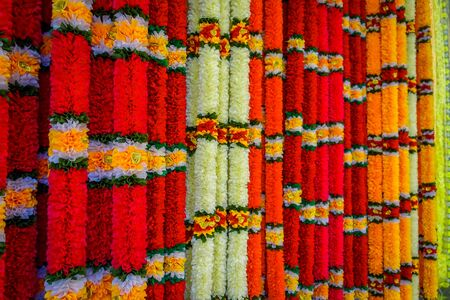 toran: Close up shot of beautiful flower garland in Malaysia Stock Photo