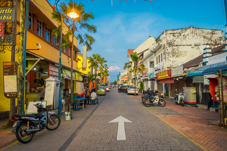 daily life: George Town, Malaysia - March 10, 2017: Streetscape view of colorful shops and daily life of the second largest city in Malaysia. Editorial