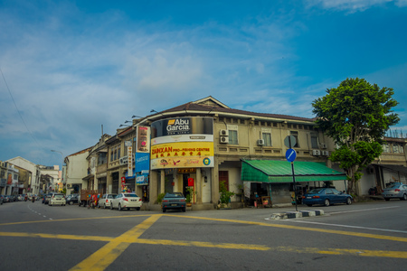 daily life: George Town, Malaysia - March 10, 2017: Streetscape view of buildings and daily life of the second largest city in Malaysia
