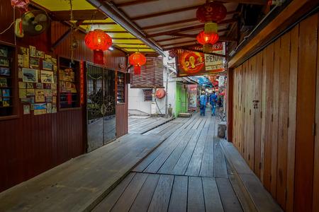 ジョージタウン, マレーシア - 2017 年 3 月 10 日: 一族の突堤が 19 世紀以来、既存のユニークな中国の集落、これらの木製の桟橋沿いには、中国の移民