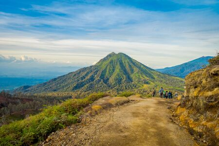 KAWEH IJEN, INDONESIA: Beautiful shot of high altitude landscape with green mountains in the distance