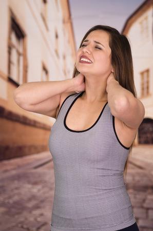 crick: Beautiful lady Suffer crick after workout