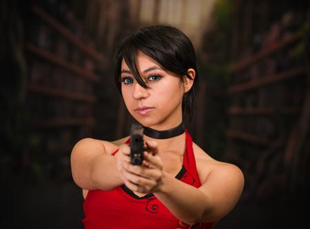 Dangerous powerful Woman Holding a Gun, resident evil cosplay costume