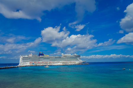 COZUMEL, MEXICO - MARCH 23, 2017: The beautiful cruise Norwegian Epic, in Cozumel Port visit the island of Cozumel