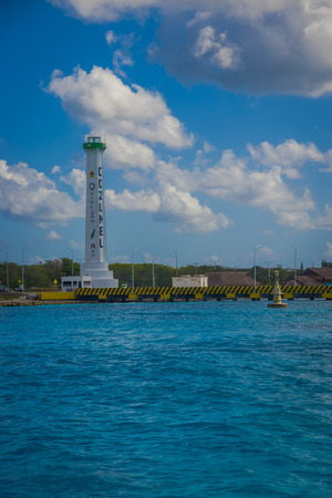 joaquin: COZUMEL, MEXICO - MARCH 23, 2017: The monument of Apiqroo was inaugurated by Governor Carlos Joaquin as part of a tour that he made on the island of Cozumel, wich attracts the attention of the 500 tourists