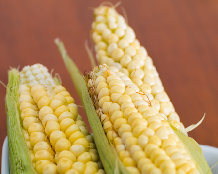Three yellow corncobs that are used for different ecuadorian dishes