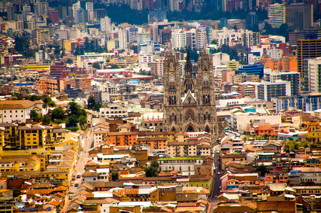 QUITO, ECUADOR- MARCH 23, 2017: The Basilica of Quito, Ecuador towering above the historic old town Editorial
