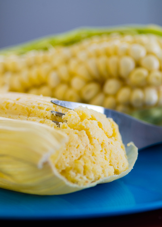 Some perfect and yellow corncobs with a corn behind
