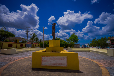COZUMEL, MEXICO - MARCH 23, 2017: A beautiful monument of capellan of Spain army located in the gorgeous city of cozumel