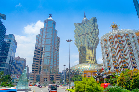 MACAU, CHINA- MAY 11, 2017: Beautiful and iconic hotel Grand Lisboa is a very big hotel and restaurant, also the oldest casino in Macau city