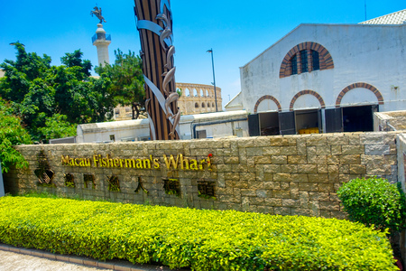 MACAU, CHINA- MAY 11, 2017: Macau Fishermans wharf complex, this beautiful place is currently being promoted as a wedding and reception venue. It is a lovely place to have ones pre-nuptial photos too