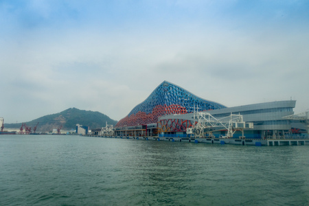 SHENZHEN, CHINA- MAY 11, 2017: Beautiful building of Terminal ferry, where TurboJet provides services between Hong Kong, Macau, Shenzhen and around the Pearl River Delta in southern China