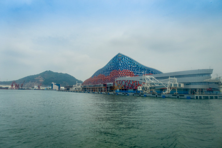 SHENZHEN, CHINA- MAY 11, 2017: Beautiful building of Terminal ferry, where TurboJet provides services between Hong Kong, Macau, Shenzhen and around the Pearl River Delta in southern China.