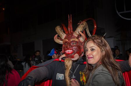 Quito, Ecuador - May 27, 2015: Close up of a couple in the diablada