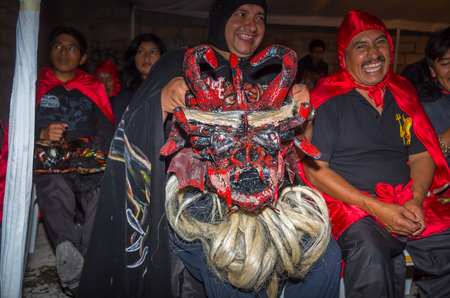 Quito, Ecuador - May 27, 2015: An unidentified people dressed up as devil in the diablada