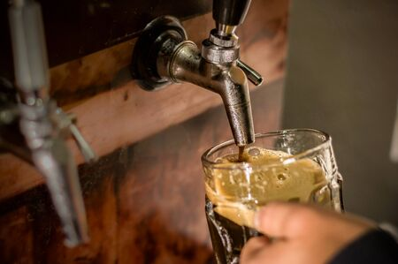 Bartender filling up with craft beer a pint glass Stock Photo