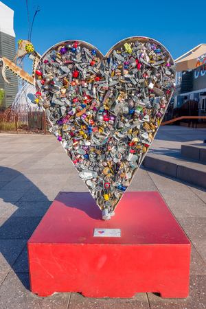 LAS VEGAS, NV - NOVEMBER 21, 2016: The Love Locket sculpture at Container Park in Las Vegas, container Park is a sustainable shopping attraction in downtown Las Vegas