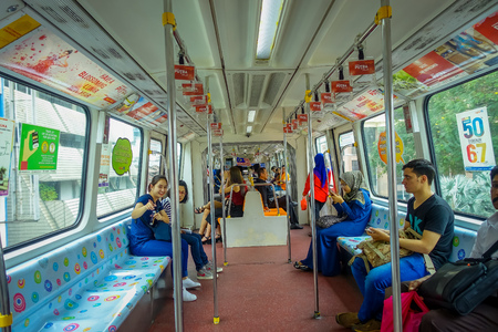 Kuala Lumpur, Malaysia - March 9, 2017: The KL Monorail is a short and elevated monorail system that connecting destinations within the city centre along 11 stations and 8.6 km. Editorial
