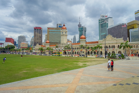 literally: Kuala Lumpur, Malaysia - March 9, 2017: Merdeka Square, literally the Independece Square, is where the Malayan flag hoisted for the first time in 1957. Editorial