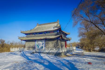Harbin, China - February 9, 2017: Classic buddhist temple in winter located in Sun Island Park.