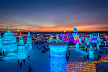 Harbin, China - February 9, 2017: Harbin International Ice and Snow Sculpture Festival is an annual winter festival that takes place in Harbin. It is the world largest ice and snow festival. Editorial