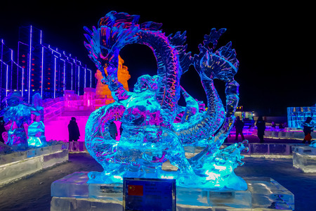Harbin, China - February 9, 2017: Spectacular ice sculptures in Harbin International Ice and Snow Sculpture Festival, the world largest ice and snow festival. Editorial