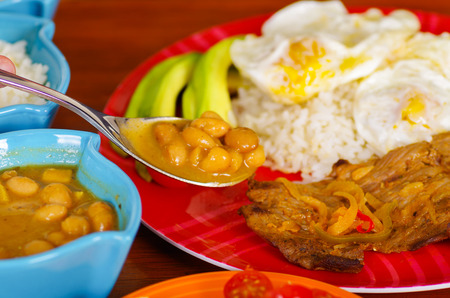 Close up of churrasco dish, ecuatorian cuisine Banco de Imagens
