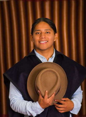 mexican ethnicity: Close up portrait of young indigenous latin american man
