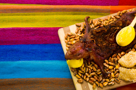 spit: Traditional ecuadorian dish, grilled guinea pig spread out onto wooden board, tostados, bacon skin and lemons on the side, seen from above Stock Photo