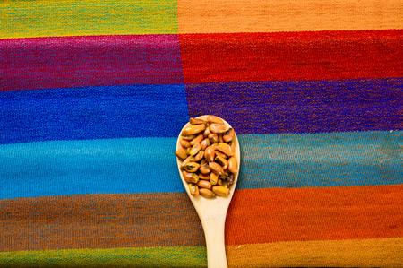 spit: Wooden spoons with toasted corn grains, known as tostado in south america, spread around bowl containing yellow salsa, seen from above Stock Photo
