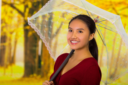 Young woman with umbrella wearing a red sweater at beautiful autum park