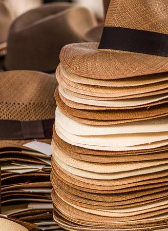 Handmade Panama Hats at the craft market in Otavalo, Ecuador